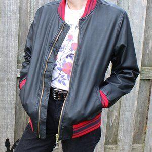 ASOS Leather Varsity Bomber Jacket